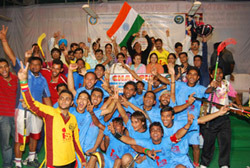 Team India is celeberating the Winning Match-2009